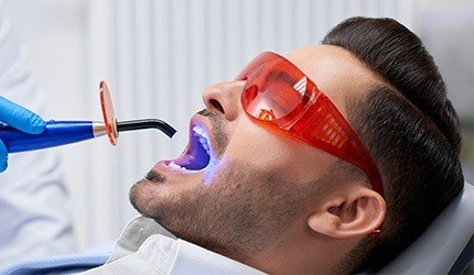 Man receiving dental bonding